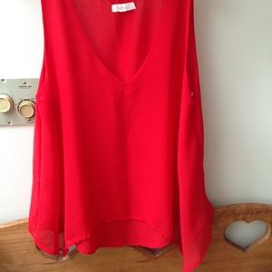 Red silk flowing tank blouse , MINE, size small